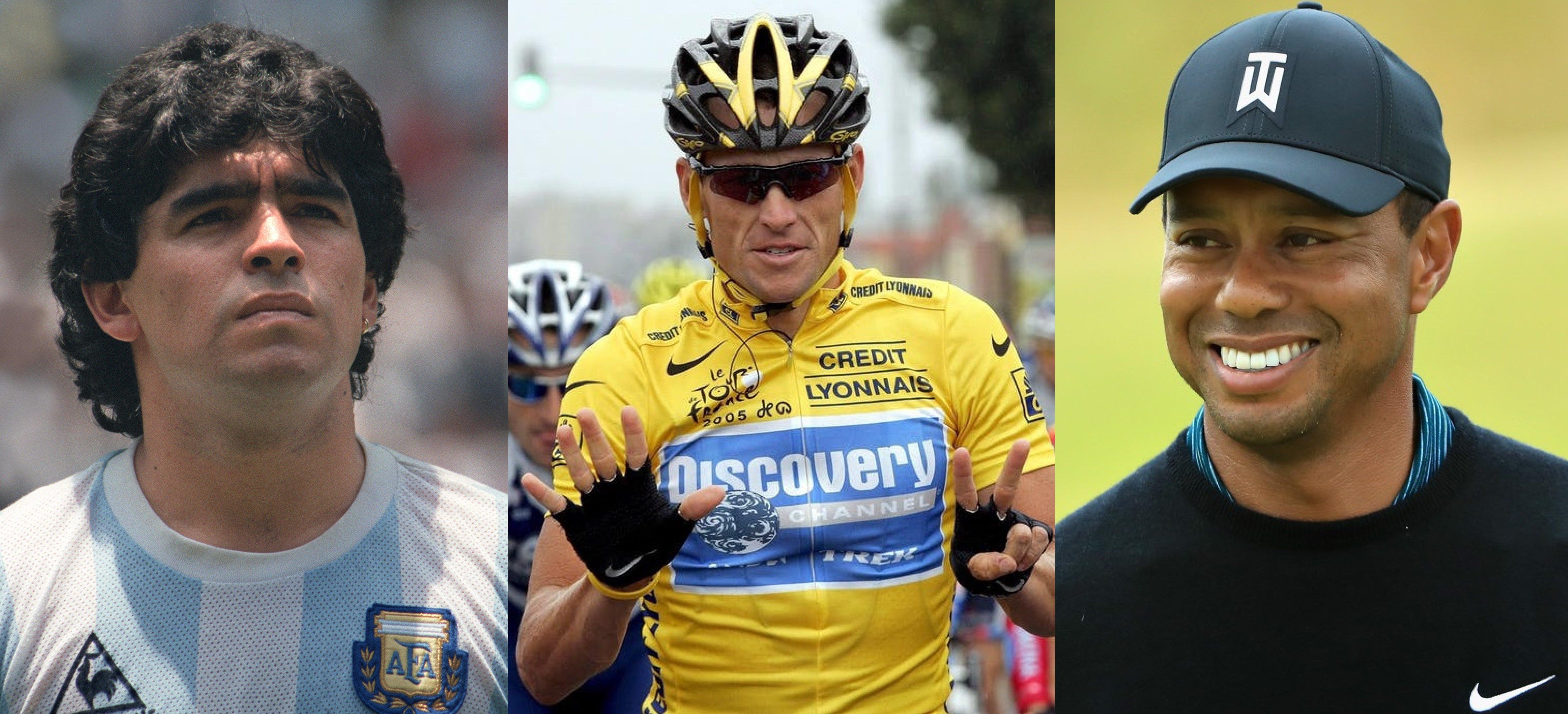 Diego Maradona, Lance Armstrong, Tiger Woods